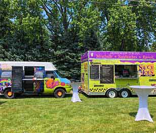 Saucy Joe's Italian Food and Gelato Trucks Parked at Party